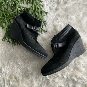 Aquatalia Black Suede Wedge Ankle Bootie Boots 9.5